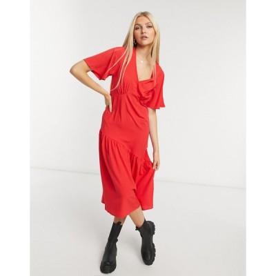 ニュールック ミディドレス レディース New Look tier hem midi dress in bright red エイソス ASOS レッド 赤