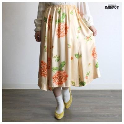 古着 オレンジ パステル 花柄 サテン 光沢 膝丈 スカート レディース ヴィンテージ (古着屋RAINBOW 通販) (btu1801054)