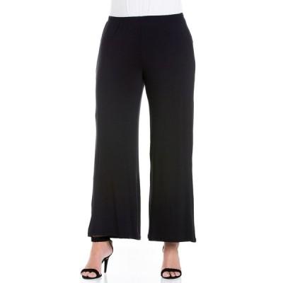 24セブンコンフォート カジュアルパンツ ボトムス レディース Women's Plus Size Wide Leg Palazzo Pants Black
