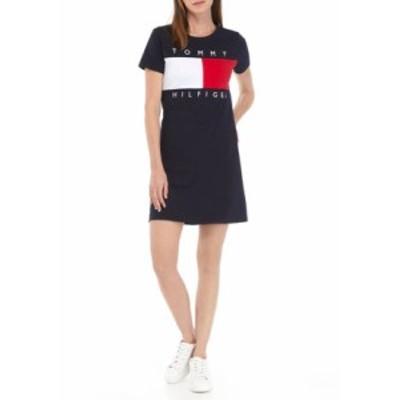 トミー ヒルフィガー レディース ワンピース トップス Short Sleeve Flag Tee Dress Sky Captain