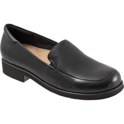 トロッターズ レディース スリッポン・ローファー シューズ Jaiden Moc Toe Loafer Black Leather
