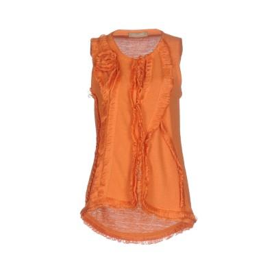 ERMANNO DI ERMANNO SCERVINO カーディガン オレンジ 38 100% 指定外繊維(ヘンプ) カーディガン