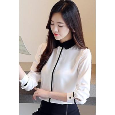 ブラウス トップス モノトーン 大人かわいい キレイめスタイル 清楚  ボトミングシャツ  mme4043