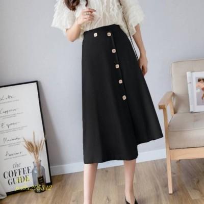 ベイカースカート ボトムス シンプル カジュアル ママファッション レディース かわいい おしゃれ ファッション ミモレ丈 ボタンスカート