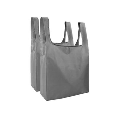 ポケットエコバッグ 2個セット 《グレー》 コンパクト 折りたたみ コンビニ袋 レジ袋 買い物袋(ゆうパケット、代引不可、送料別商品)