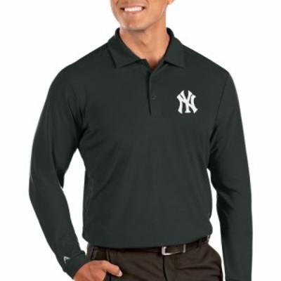 アンティグア Antigua メンズ ポロシャツ トップス New York Yankees Grey Tribute Long Sleeve Performance Polo