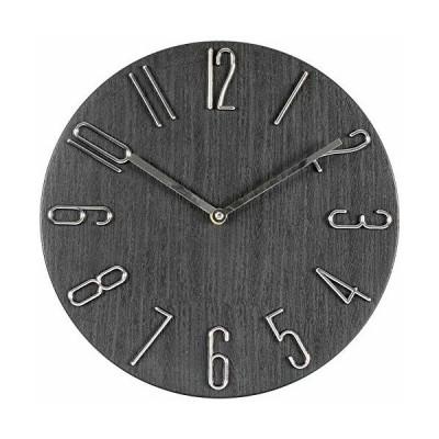 MILEADER 壁掛け時計 凸凹な3D立体数字 オープン時計 木目調盤 掛時計 連続秒針 静音 ウォールクロック おしゃれ