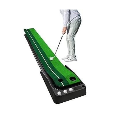 Wekin グリーン 屋内 ミニ ゴルフ パッティングマット オートボールリターン付き デュアルトラック パッティングコントロール 精度 自宅 オフィ