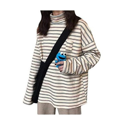 [ウンセン]長袖tシャツ レディース ハイネック ロングTシャツ ボーダー柄 カットソー 長袖 ゆったり プルオー?