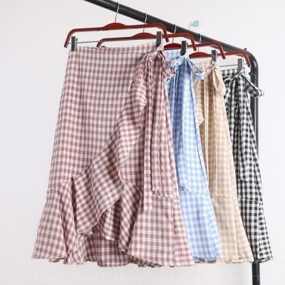 スカートレディースチェック柄フレアスカートアシンメトリーミモレ丈チェック柄マーメイドスカート大きいサイズ4色ベージュ