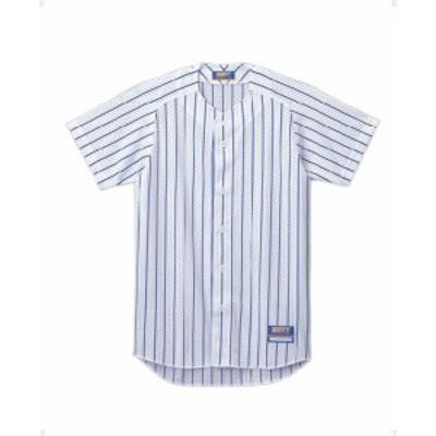 ゼット 野球 ソフト ユニフォーム用ストライプメッシュシャツ 16SS ホワイト/マリンブルー ヤキュウユニホーム(bu521-1127)