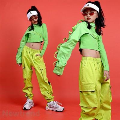 キッズ ダンス衣装 ヒップホップ 3点セット  HIPHOP ライドグリーン ダンスシャツ パンツ 子供 男の子 女の子 練習着 ジャズダンス