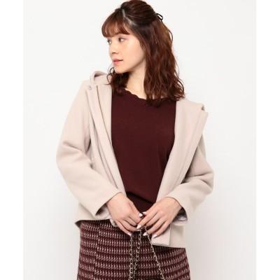 Couture Brooch(クチュールブローチ) 【新色追加・WEB限定サイズ(S)あり】メルトン風ジャージ バックフリルコート