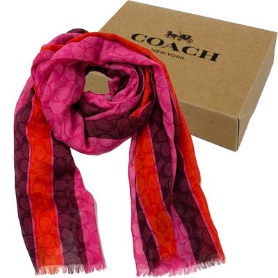 COACH 經典C LOGO蠶絲混莫代爾絲巾圍巾禮盒(配色紅)