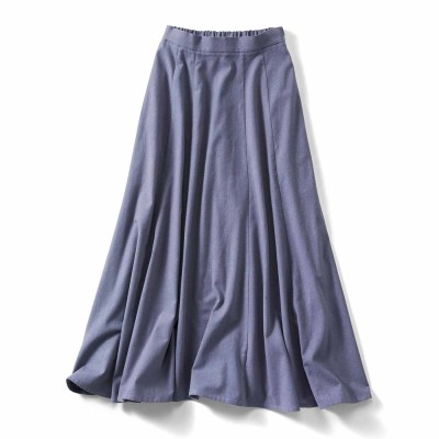 アンティーク風起毛仕立てのコットンリネンマキシスカート〈ブルー〉 IEDIT[イディット] フェリシモ FELISSIMO