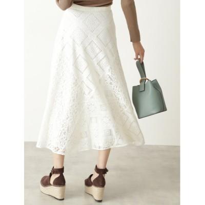 スカート ◆【『美人百花』4月号掲載・WEB限定サイズ:4】レースブロッキングスカート