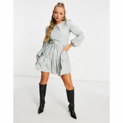 ミスガイデッド Missguided レディース ワンピース ティアードドレス ワンピース・ドレス Tiered Smock Dress With Puff Sleeves In Sage