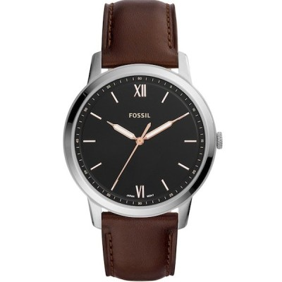 FOSSIL[フォッシル] fs5464 THE MINIMALIST THREE-HAND JAVA LEATHER WATCH ブラックダイヤル アナログ メンズ ブラウンレザー アナログ 腕時計