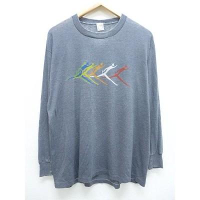 XL/古着 ビンテージ 長袖 Tシャツ リレー グレー 霜降り 19jun21 中古 メンズ