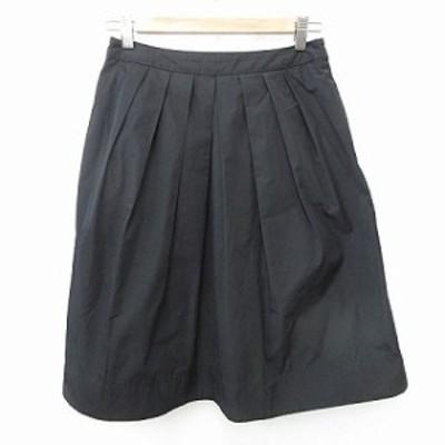 【中古】ダナキャランニューヨーク DKNY スカート ひざ丈 プリーツ サイドジップ 無地 黒 M レディース