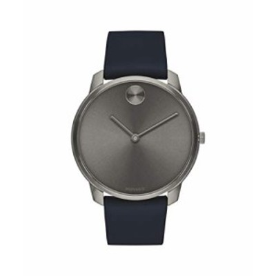 Movado Bold, Ionic Plated Grey Steel Case, Grey Dial, Blue Nappa Leather Strap, Men, 3600586