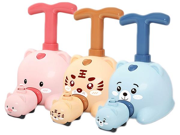 兒童益智玩具-空氣動力車(1組入) 粉豬/黃虎/藍熊 款式可選【D021965】