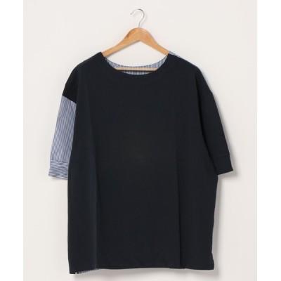 BEATJIVE / 異素材 ストライプ配色 ビッグ Tシャツ オーバーサイズ ビッグシルエット ワイド ゆったり シンプル MEN トップス > Tシャツ/カットソー