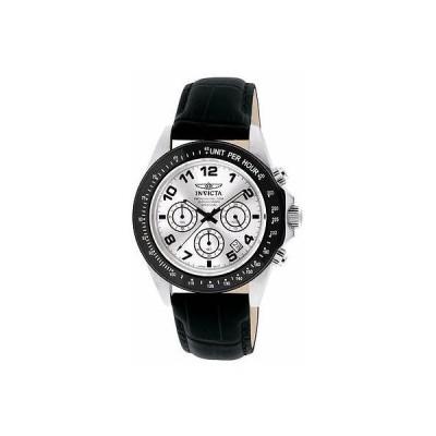 インヴィクタ 10708 43ミリ スピードウェイ クロノグラフ ブラック ベゼル レザー ストラップ メンズ 腕時計