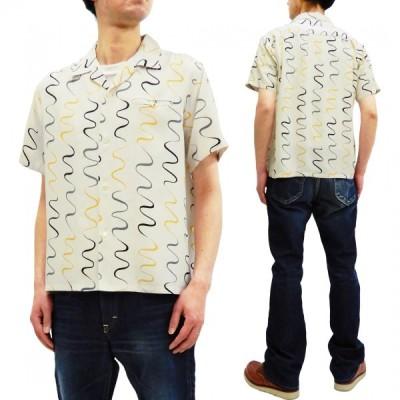 スターオブハリウッド オープンシャツ ウェービーストライプ 東洋エンタープライズ メンズ 半袖シャツ SH38124 オフ白 新品