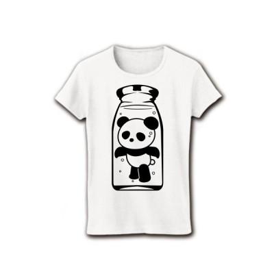 ぱんだ牛乳 リブクルーネックTシャツ(ホワイト)