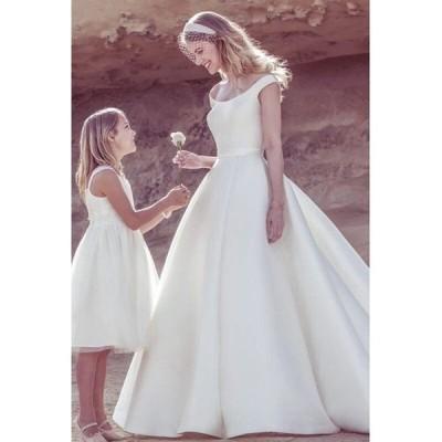 Aラインドレス ウェティグドレス ロングドレス 結婚式 パーティードレス 安い 大きいサイズ 二次会 海外挙式 花嫁 ドレス サテン トレーン おしゃれ