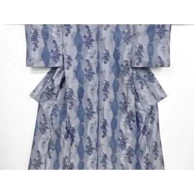 宗sou 立涌に花模様織り出し手織り節紬着物アンサンブル【リサイクル】【着】