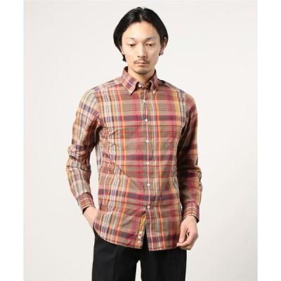 シャツ ブラウス BEAMS F / ブラウンマドラスチェック ボタンダウンシャツ