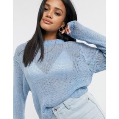 エイソス レディース ニット・セーター アウター ASOS DESIGN sweater in loose open stitch in blue Blue