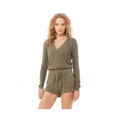 ALO エーエルオー レディース 女性用 ファッション パーカー スウェット Wrap Hoodie - Olive Branch