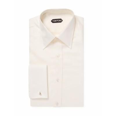 トムフォード メンズ ドレスシャツ ワイシャツ Barrel Cuffs Cotton Solid Dress Shirt