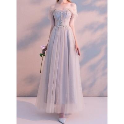 優しいカラーと肩のオーガンジーがロマンチックなロングパーティードレス ドレス ロングワンピース ワンピース  結婚式