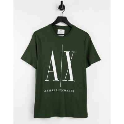 アルマーニ Armani Exchange メンズ Tシャツ トップス small icon logo t-shirt in green グリーン