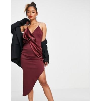エイソス レディース ワンピース トップス ASOS DESIGN cami satin mix twist asymmetric mini dress in wine