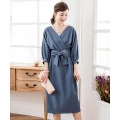 DRESS STAR(ドレス スター)カシュクールネックウエストリボンワンピースドレス【お取り寄せ商品】