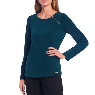 カルバンクライン レディース Tシャツ トップス Solid Matte Jersey Zipper Trim Long Sleeve Top Malachite