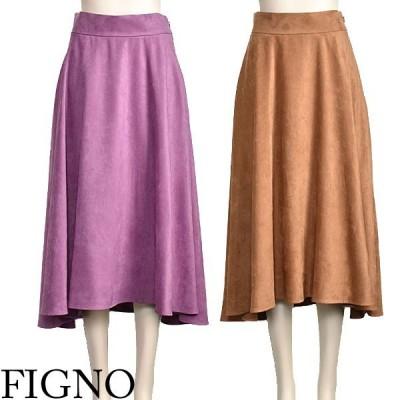 フレア スカート ロング 大人 上品 イレギュラーヘム ベージュ ピンク FIGNO 40代