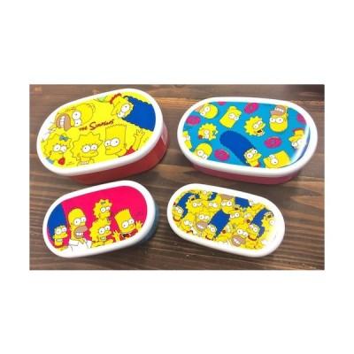 アメリカン雑貨★シンプソンズ グッズ 4P シールランチボックス ファミリー お弁当箱 -SP0465