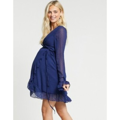 エイソス レディース ワンピース トップス ASOS DESIGN Maternity dobby mini wrap dress with fluted sleeve in navy Navy