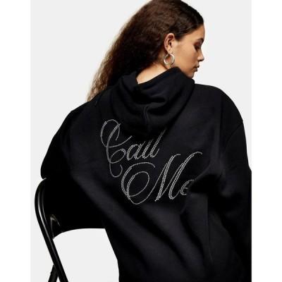 トップショップ Topshop レディース パーカー トップス call me slogan hoodie in black ブラック