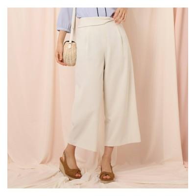 【クチュール ブローチ/Couture brooch】 【洗える】ウエストリボンデザインワイドパンツ