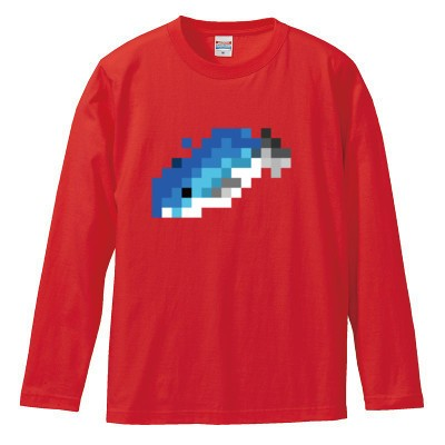 まぐろ ロングスリーブTシャツ(カラー : レッド, サイズ : S)