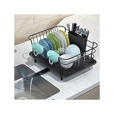 BASSTOP 食器乾燥ラック キッチン用食器水切り 防錆食器乾燥ラック カウンタートップ用 取り外し可能な器具ホルダーと調節可能なスイベルスパウト 好評販売中