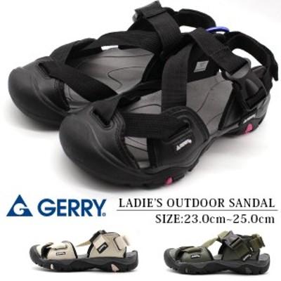 サンダル レディース 靴 スポーツ 黒 ブラック 滑りにくい ベルト 軽量 ベルクロ アウトドア ジェリー GERRY GR-5515