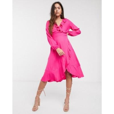 クローゼットロンドン Closet London レディース ワンピース ラップドレス ワンピース・ドレス Closet long sleeve frill wrap dress ピンク